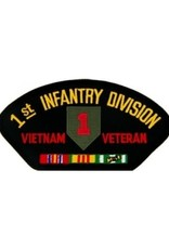"MidMil Embroidered 1st Infantry Division Vietnam Veteran Patch with Emblem and Ribbons 5.2"" wide x 2.7"" high Black"
