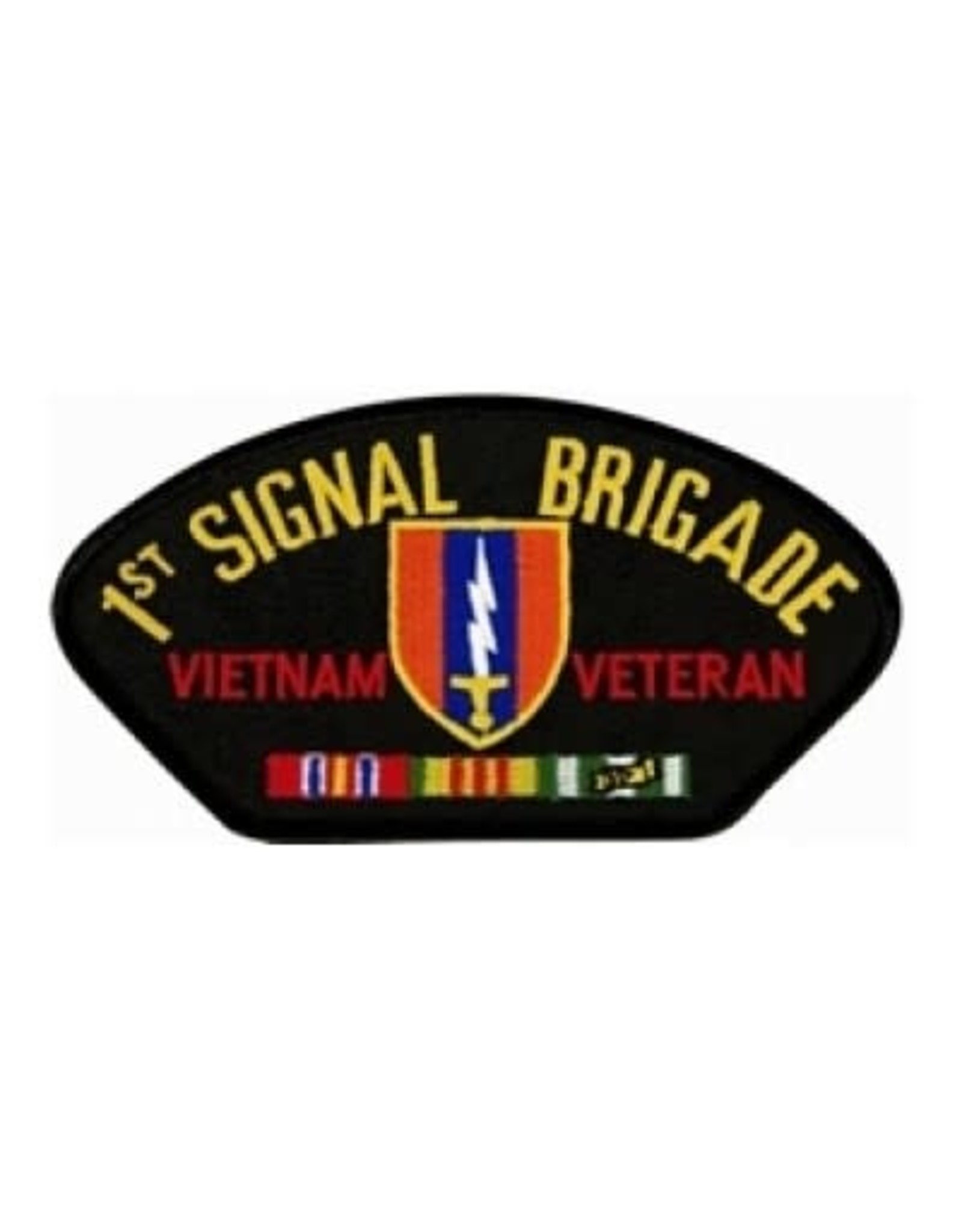 """MidMil Embroidered 1st Signal Brigade Vietnam Veteran Patch with Emblem and Ribbons 5.2"""" wide x 2.7"""" high Black"""