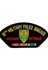 """MidMil Embroidered 18th Military Police Brigade Vietnam Veteran Patch 5.2"""" wide x 2.7"""" high Black"""