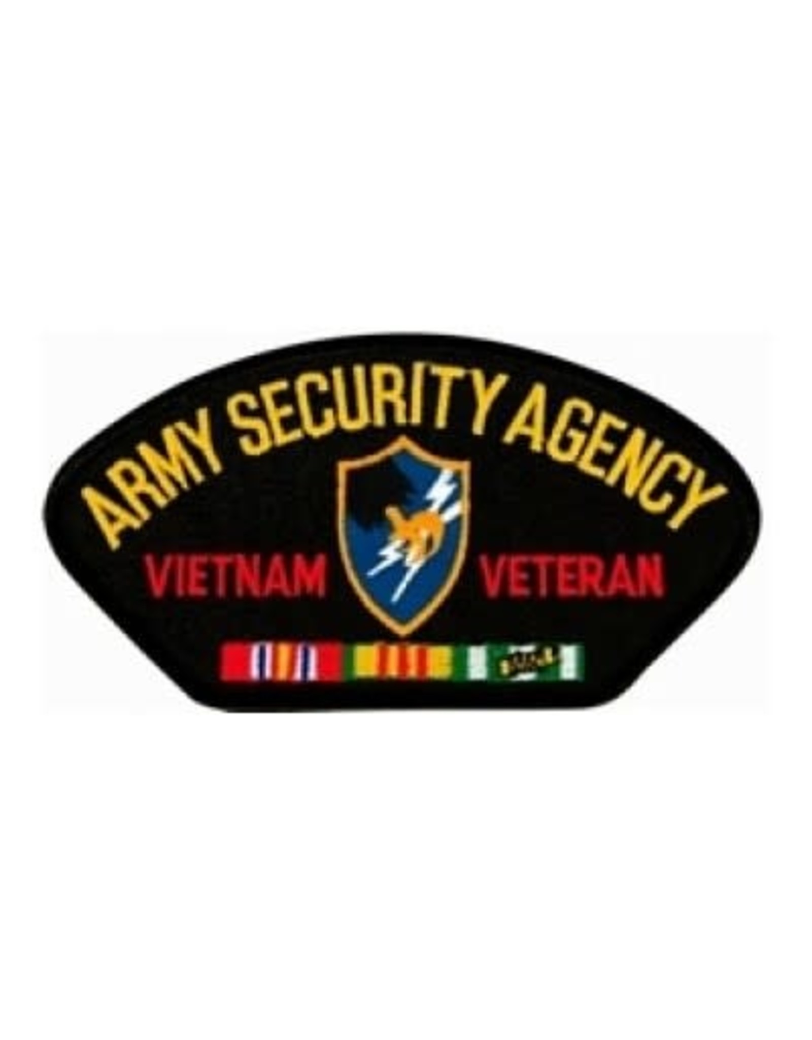 """MidMil Embroidered Army Security Agency Vietnam Veteran Patch with Emblem and Ribbons 5.2"""" wide x 2.7"""" high Black"""