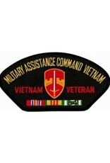 "MidMil Embroidered Military Assistance Command Vietnam (MACV) Vietnam Veteran Patch with Emblem and Ribbons 5.2"" wide x 2.7"" high Black"