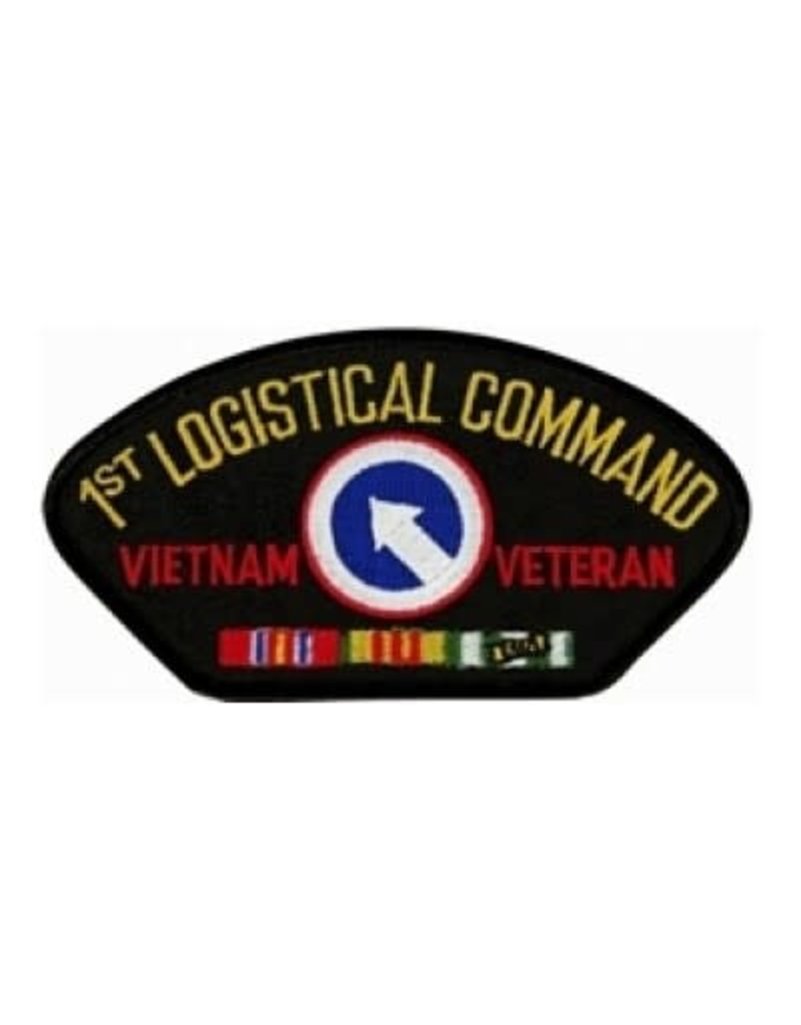 """MidMil Embroidered 1st Logistical Command Vietnam Veteran Patch with Emblem and Ribbons 5.2"""" wide x 2.7"""" high Black"""