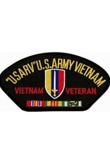 """MidMil Embroidered """"U.S.ARV"""" U.S. Army Vietnam Vietnam Veteran Patch with Emblem and Ribbons 5.2"""" wide x 2.7"""" high BlackEmbroidered """"U.S.ARV"""" U.S. Army Vietnam Vietnam Veteran Patch with Emblem and Ribbons 5.2"""" wide x 2.7"""" high Black"""