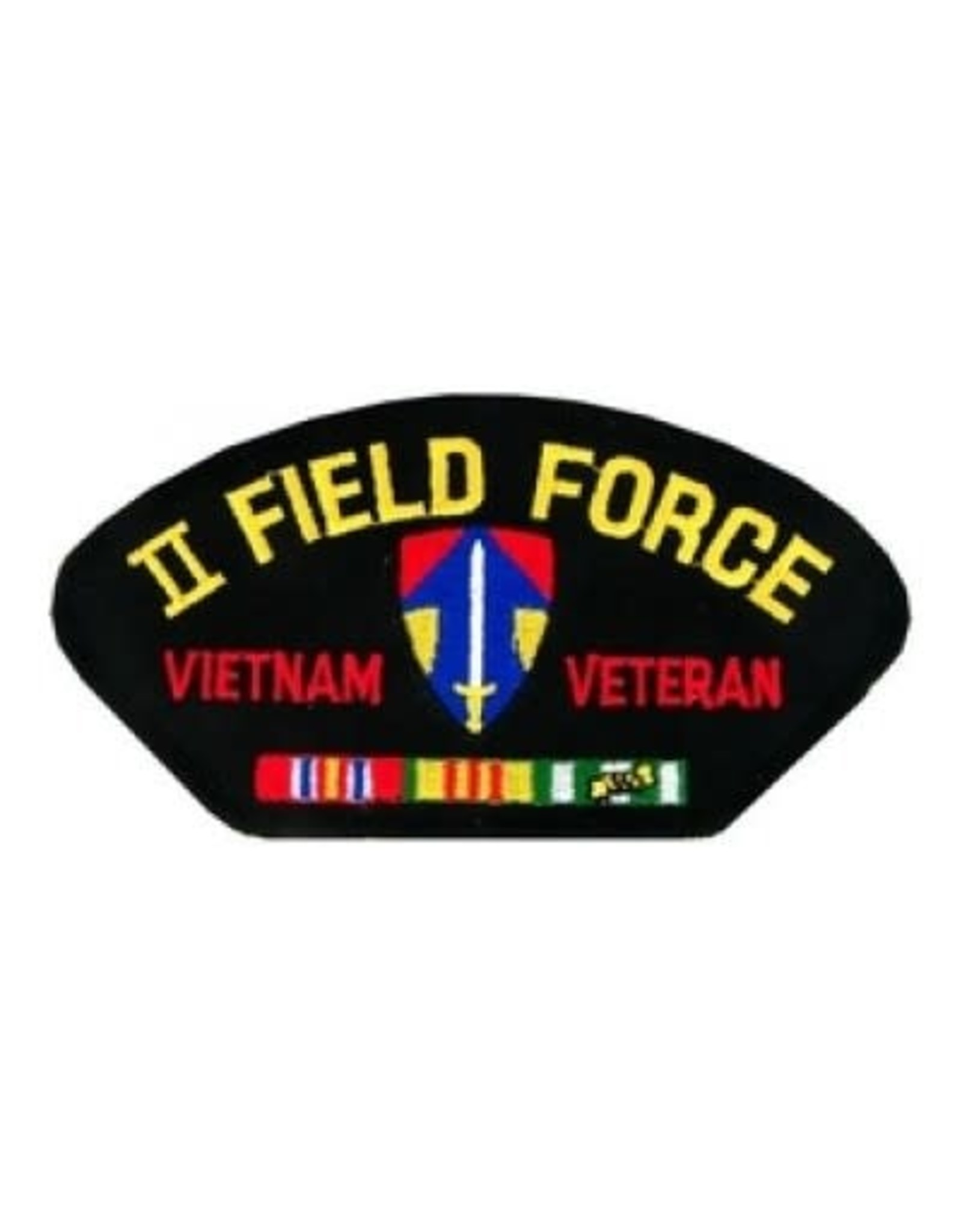 """MidMil Embroidered II Field Force Vietnam Veteran Patch with Emblem and Ribbons 5.2"""" wide x 2.7"""" high Black"""