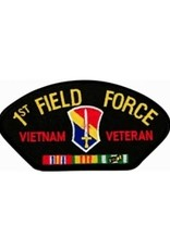 "MidMil Embroidered 1st Field Force Vietnam Veteran Patch with Emblem and Ribbons 5.2"" wide x 2.7"" high Black"
