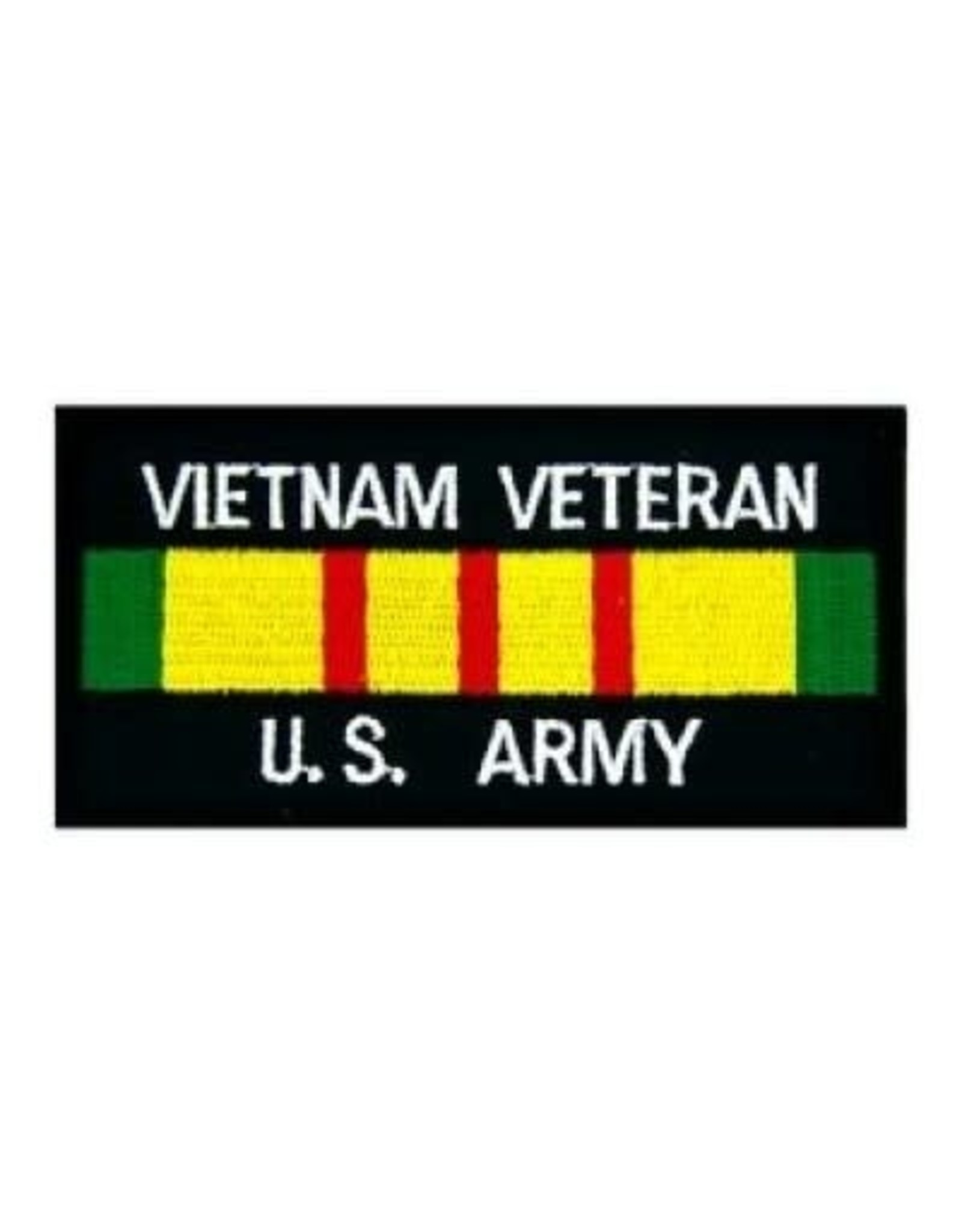 """MidMil Embroidered Vietnam Veteran U.S. Army Patch with Service Ribbon 4"""" wide x 2"""" high Black"""