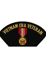 """MidMil Embroidered Vietnam Era Veteran Patch with National Defense Medal 5.2"""" wide x 2.7"""" high Black"""