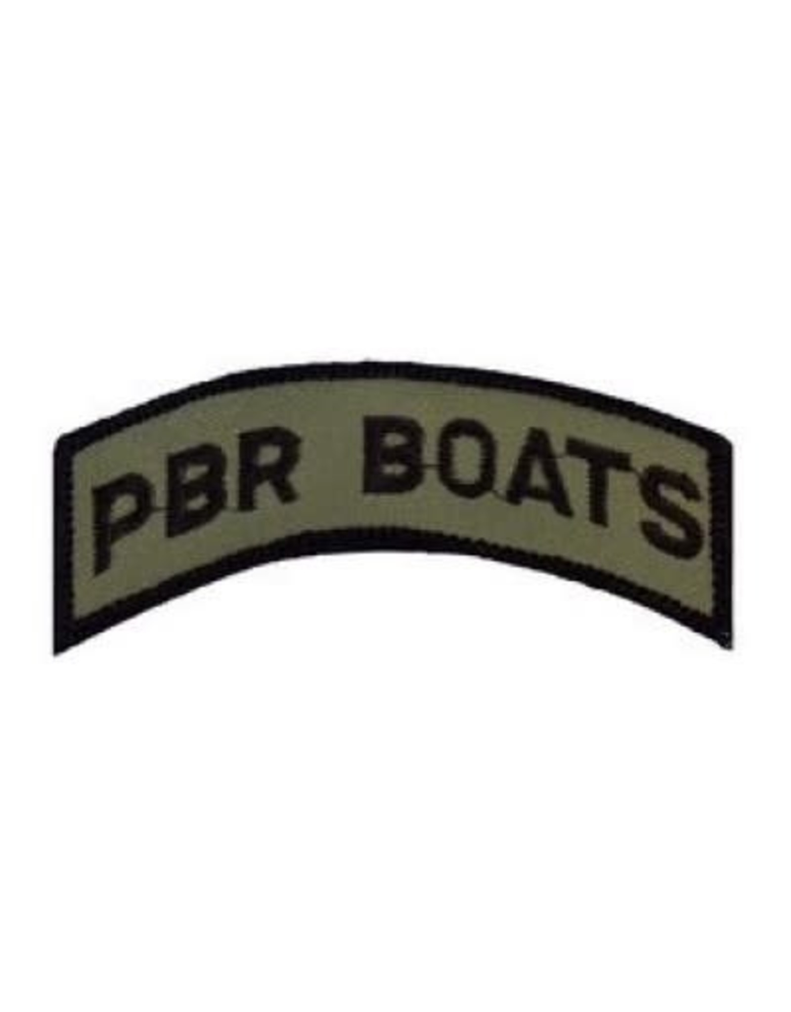 """MidMil Embroidered Subdued PBR Boats Tab Patch 3.6"""" wide x 1.4"""" high Olive Drab"""