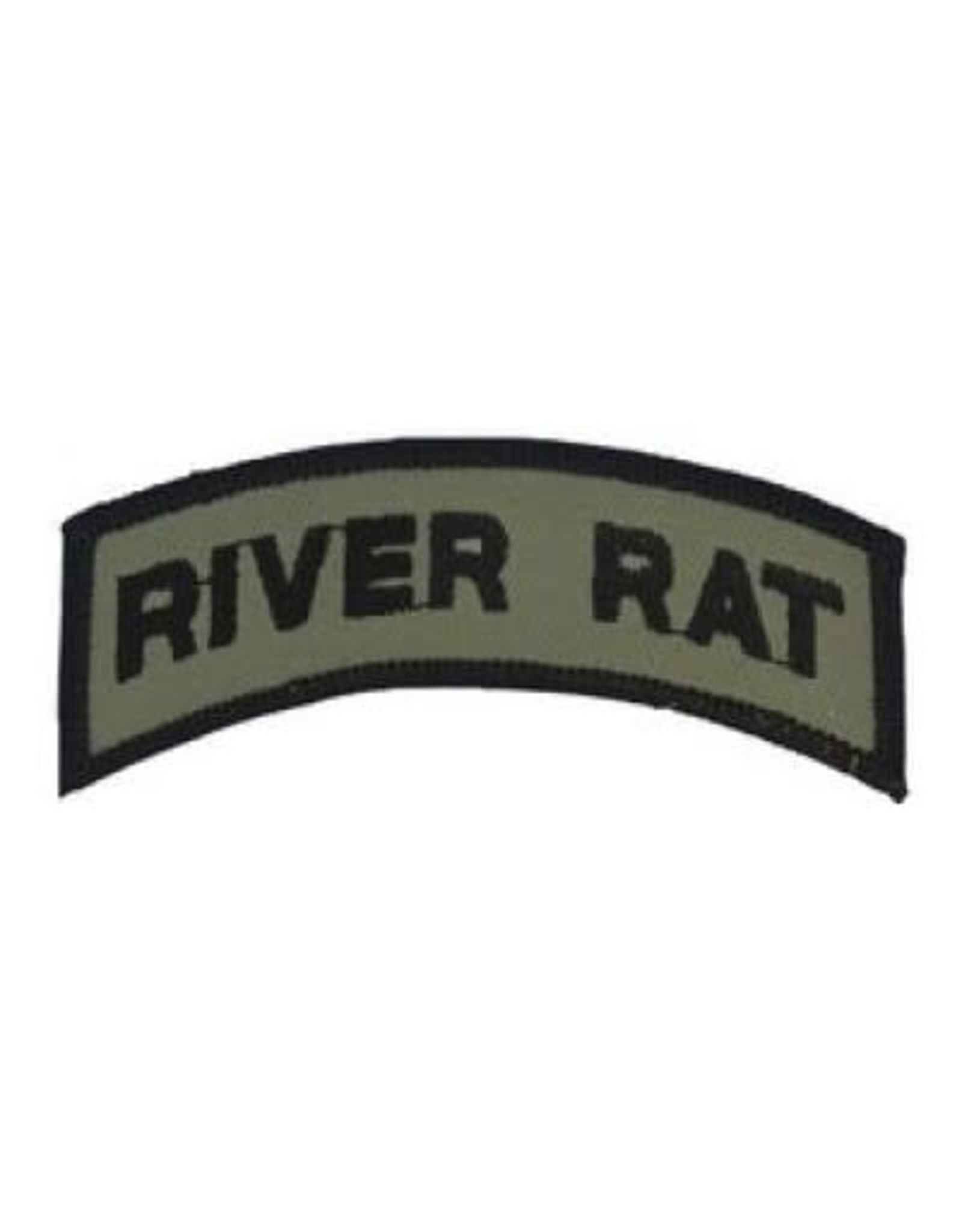 "MidMil Embroidered Subdued River Rat Tab Patch 3.6"" wide x 1.4"" high Olive Drab"