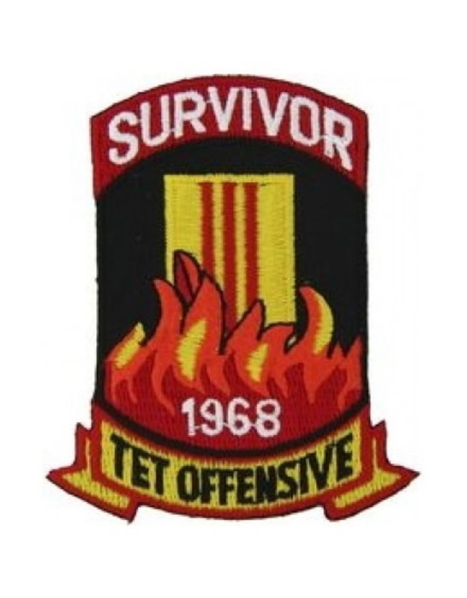 """MidMil Embroidered Tet Offensive Survivor 1968 Patch 2.6"""" wide x 3.3"""" high"""