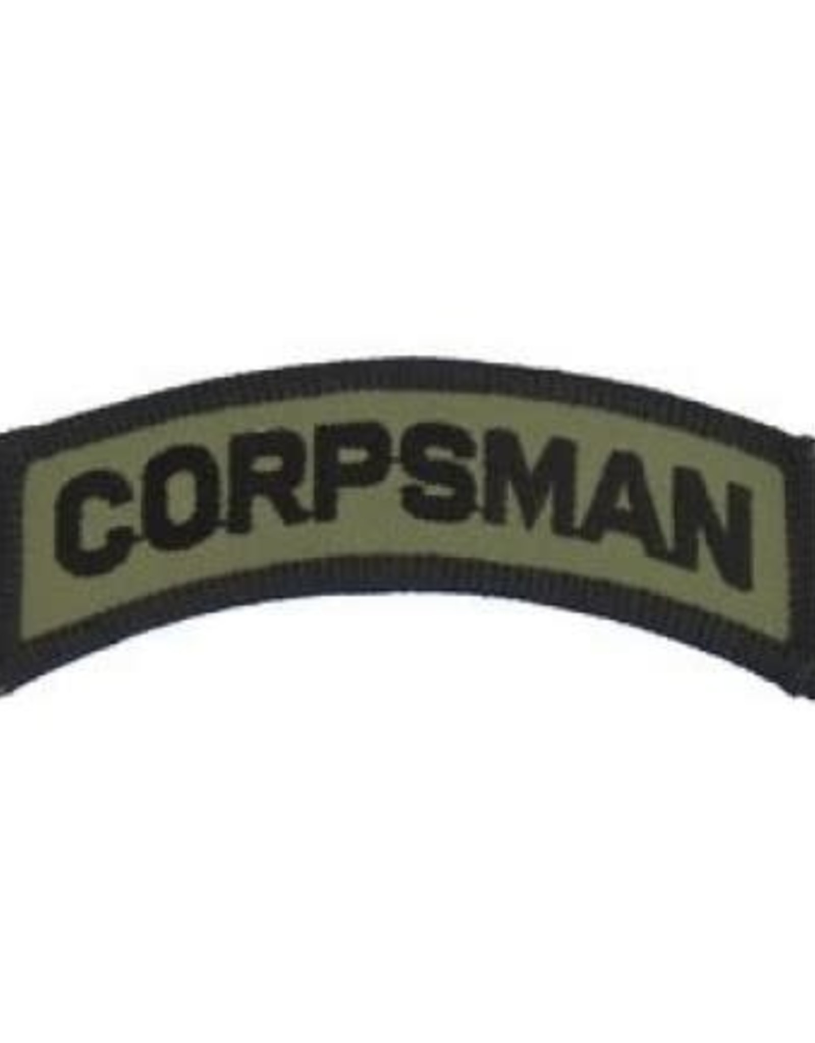 """MidMil Embroidered Subdued Corpsman Tab Patch 3.5"""" wide x 1.3"""" high Olive Drab"""