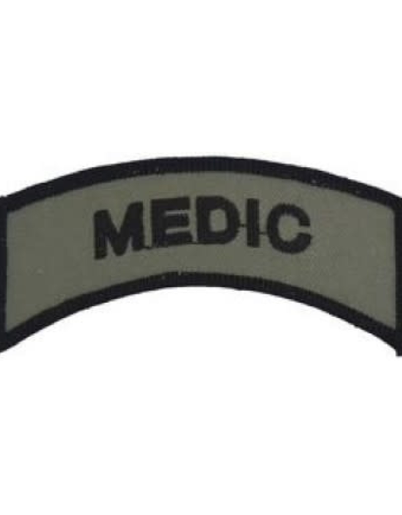 """MidMil Embroidered Subdued Medic Tab Patch 3.5"""" wide x 1.3"""" high Olive Drab"""