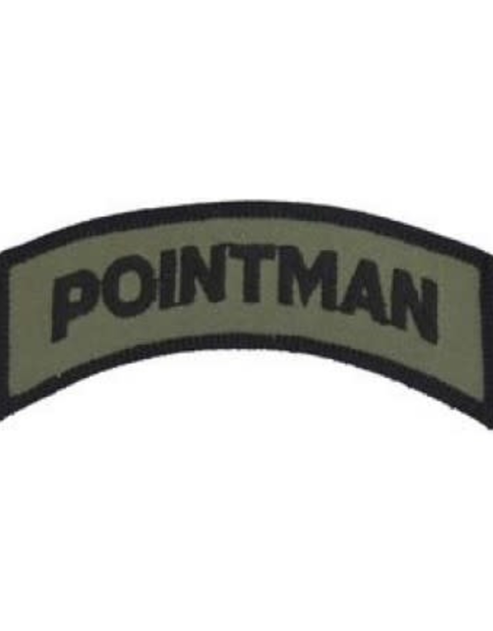 "MidMil Embroidered Subdued Pointman Tab Patch 3.5"" wide x 1.3"" high Olive Drab"