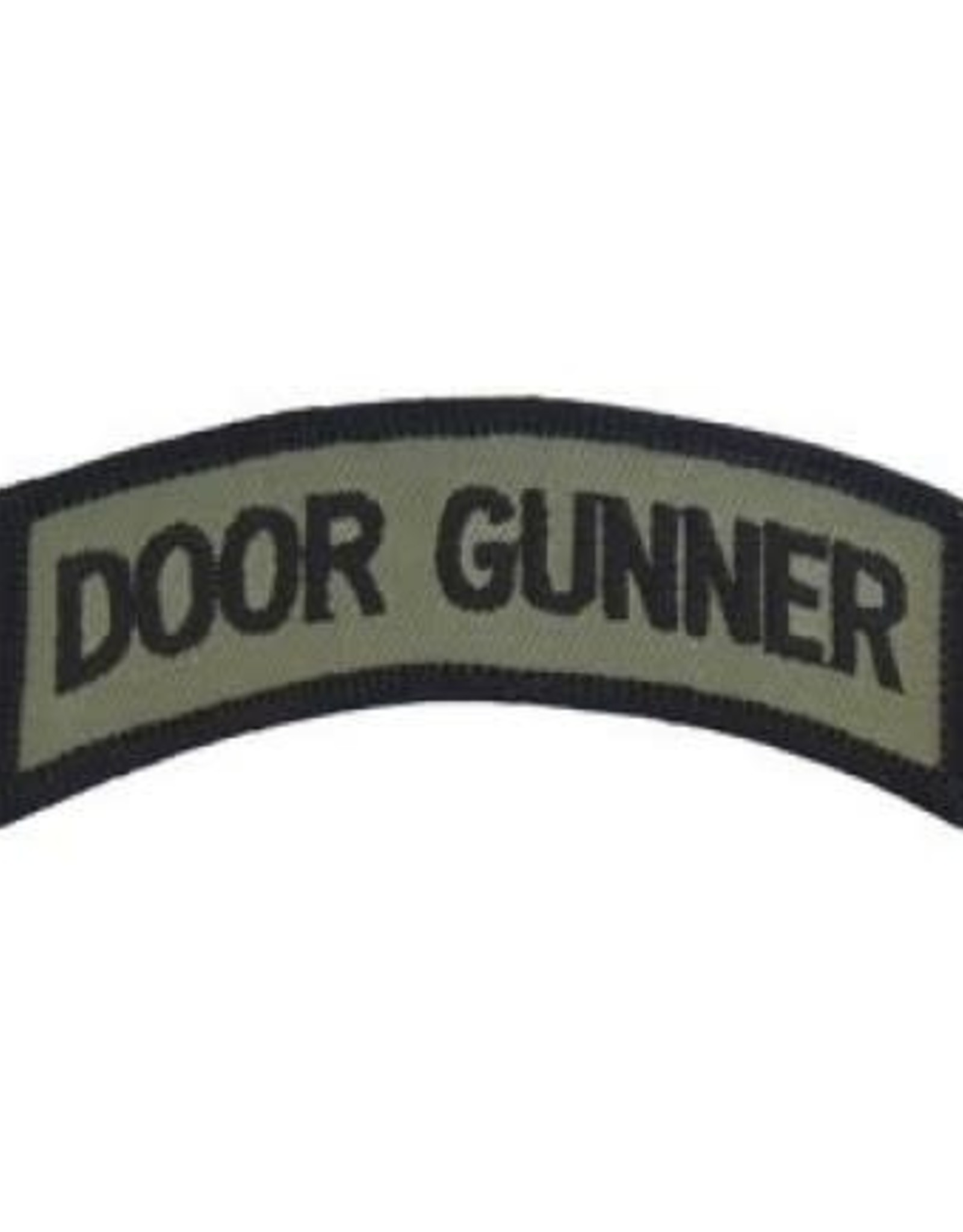 """MidMil Embroidered Subdued Door Gunner Tab Patch 3.5"""" wide x 1.3"""" high Olive Drab"""