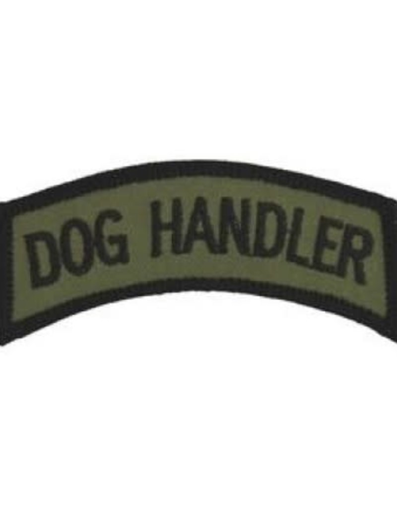 """MidMil Embroidered Subdued Dog Handler Tab Patch 3.5"""" wide x 1.3"""" high Olive Drab"""