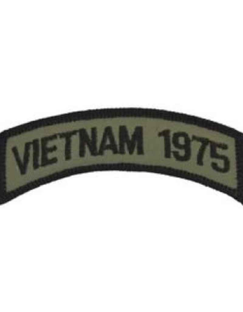 """MidMil Embroidered Subdued Vietnam 1975 Tab Patch 3.5"""" wide x 1.3"""" high Olive Drab"""