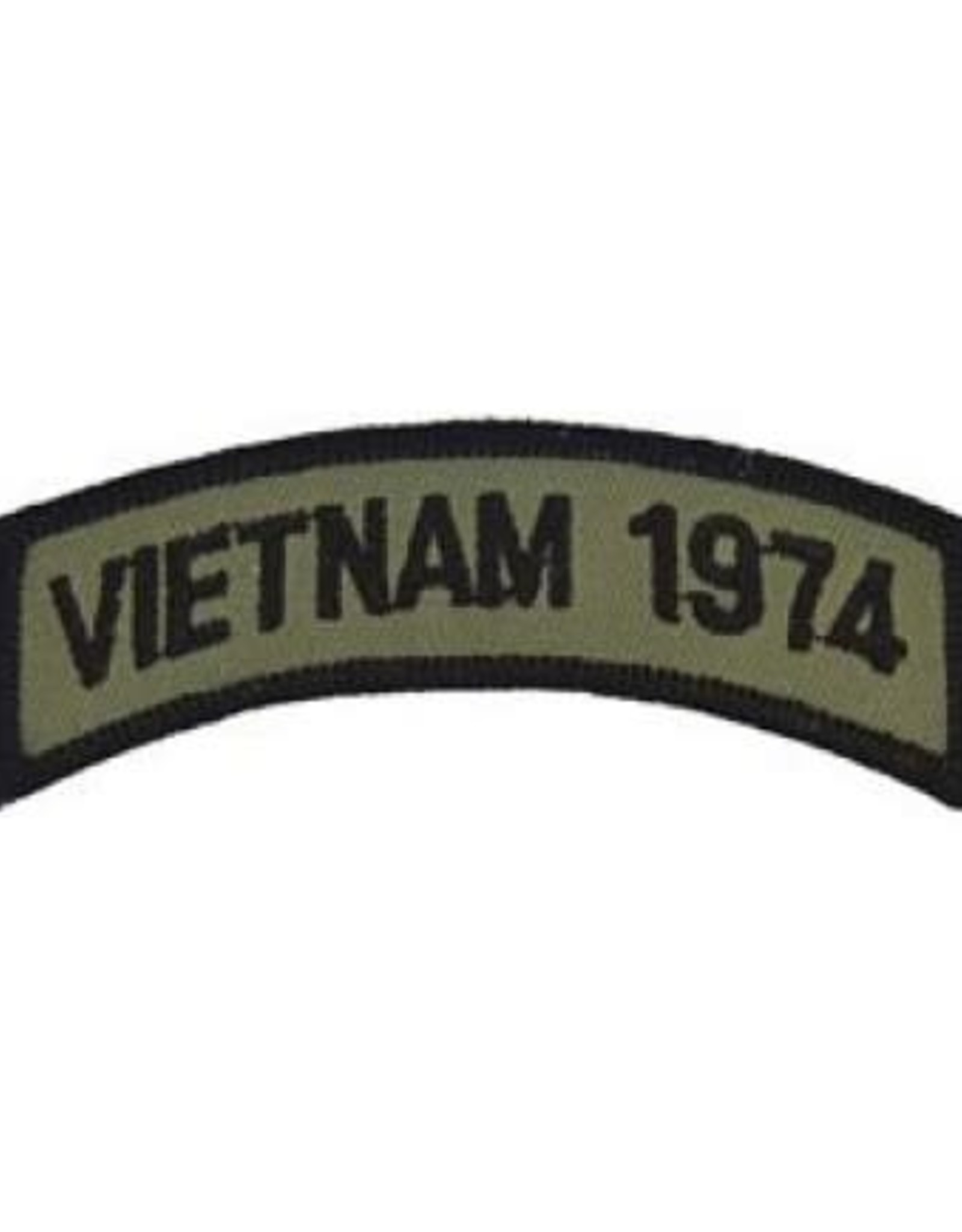 """MidMil Embroidered Subdued Vietnam 1974 Tab Patch 3.5"""" wide x 1.3"""" high Olive Drab"""