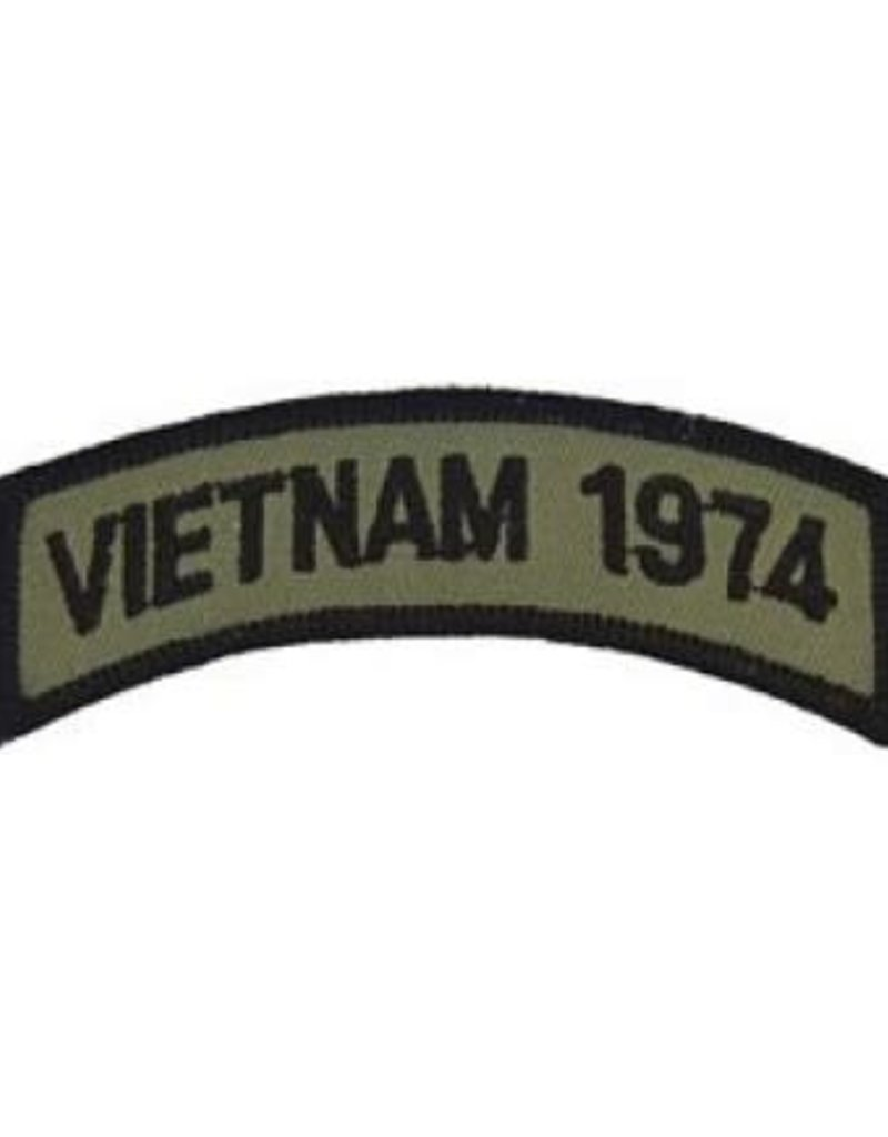 "MidMil Embroidered Subdued Vietnam 1974 Tab Patch 3.5"" wide x 1.3"" high Olive Drab"