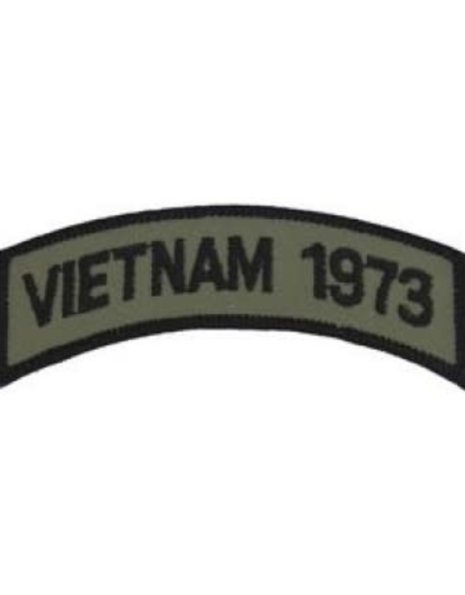 """MidMil Embroidered Subdued Vietnam 1973 Tab Patch 3.5"""" wide x 1.3"""" high Olive Drab"""