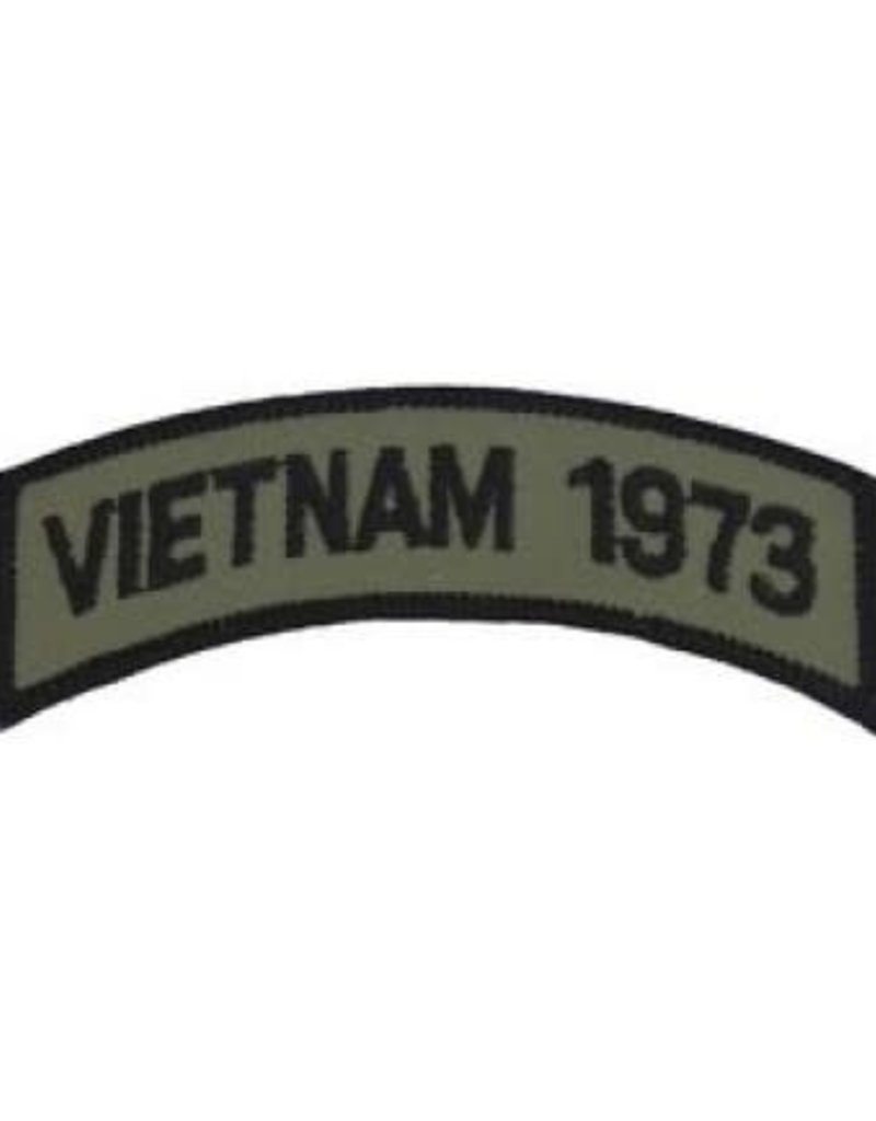 "MidMil Embroidered Subdued Vietnam 1973 Tab Patch 3.5"" wide x 1.3"" high Olive Drab"
