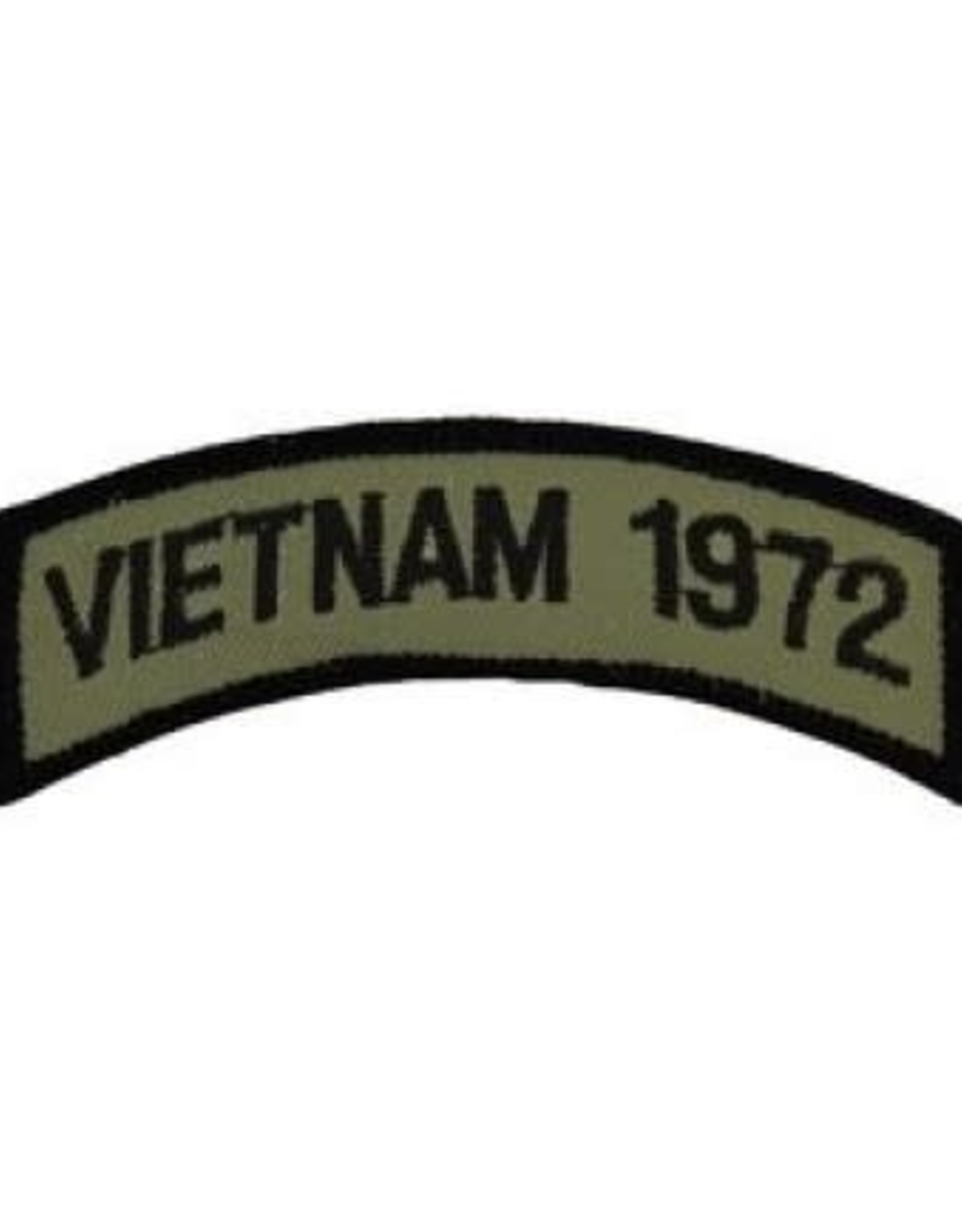 """MidMil Embroidered Subdued Vietnam 1972 Tab Patch 3.5"""" wide x 1.3"""" high Olive Drab"""