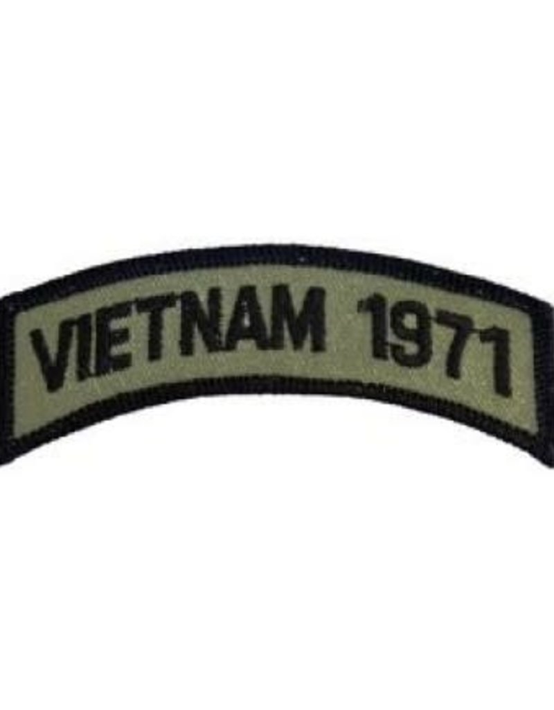 """MidMil Embroidered Subdued Vietnam 1971 Tab Patch 3.5"""" wide x 1.3"""" high Olive Drab"""