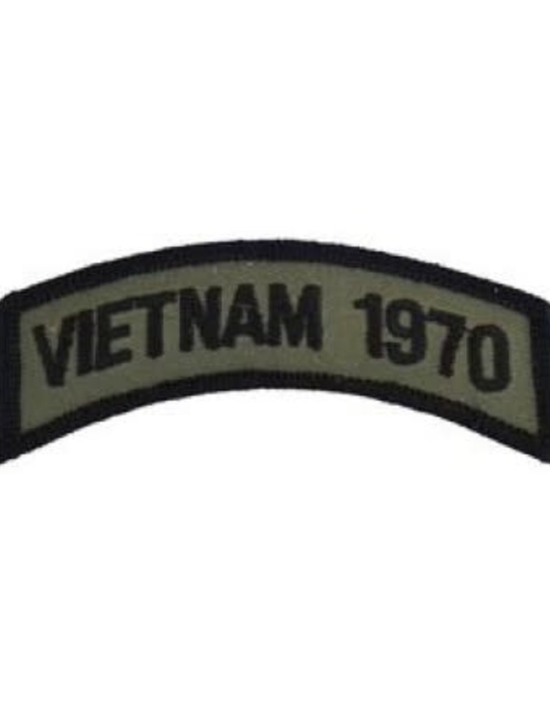 "MidMil Embroidered Subdued Vietnam 1970 Tab Patch 3.5"" wide x 1.3"" high Olive Drab"