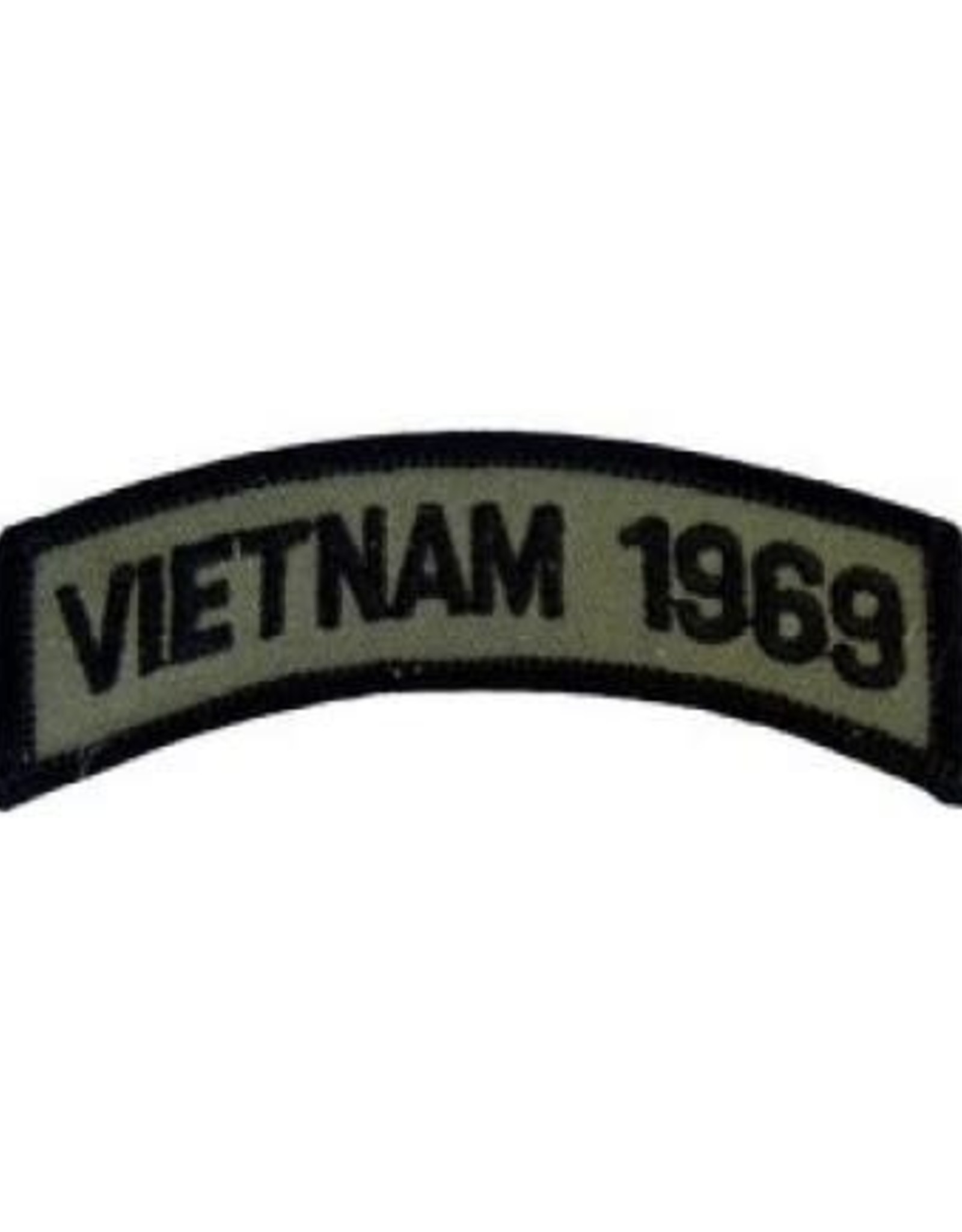 """MidMil Embroidered Subdued Vietnam 1969 Tab Patch 3.5"""" wide x 1.3"""" high Olive Drab"""