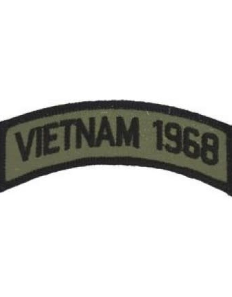 """MidMil Embroidered Subdued Vietnam 1968 Tab Patch 3.5"""" wide x 1.3"""" high Olive Drab"""