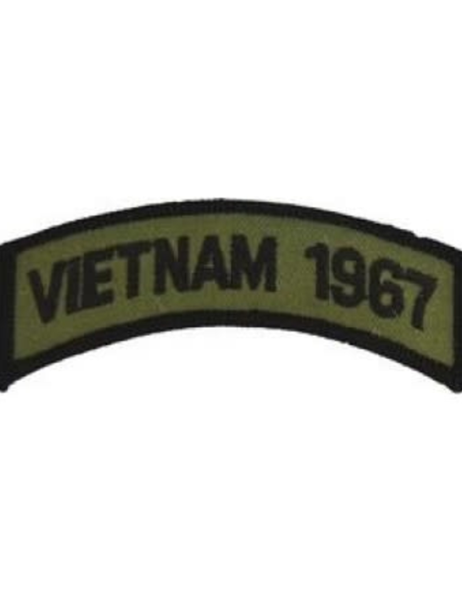 """MidMil Embroidered Subdued Vietnam 1967 Tab Patch 3.5"""" wide x 1.3"""" high Olive Drab"""