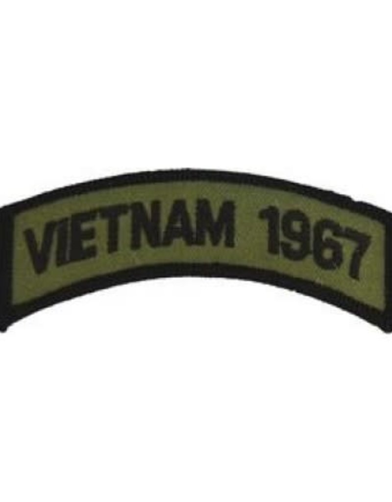 "MidMil Embroidered Subdued Vietnam 1967 Tab Patch 3.5"" wide x 1.3"" high Olive Drab"