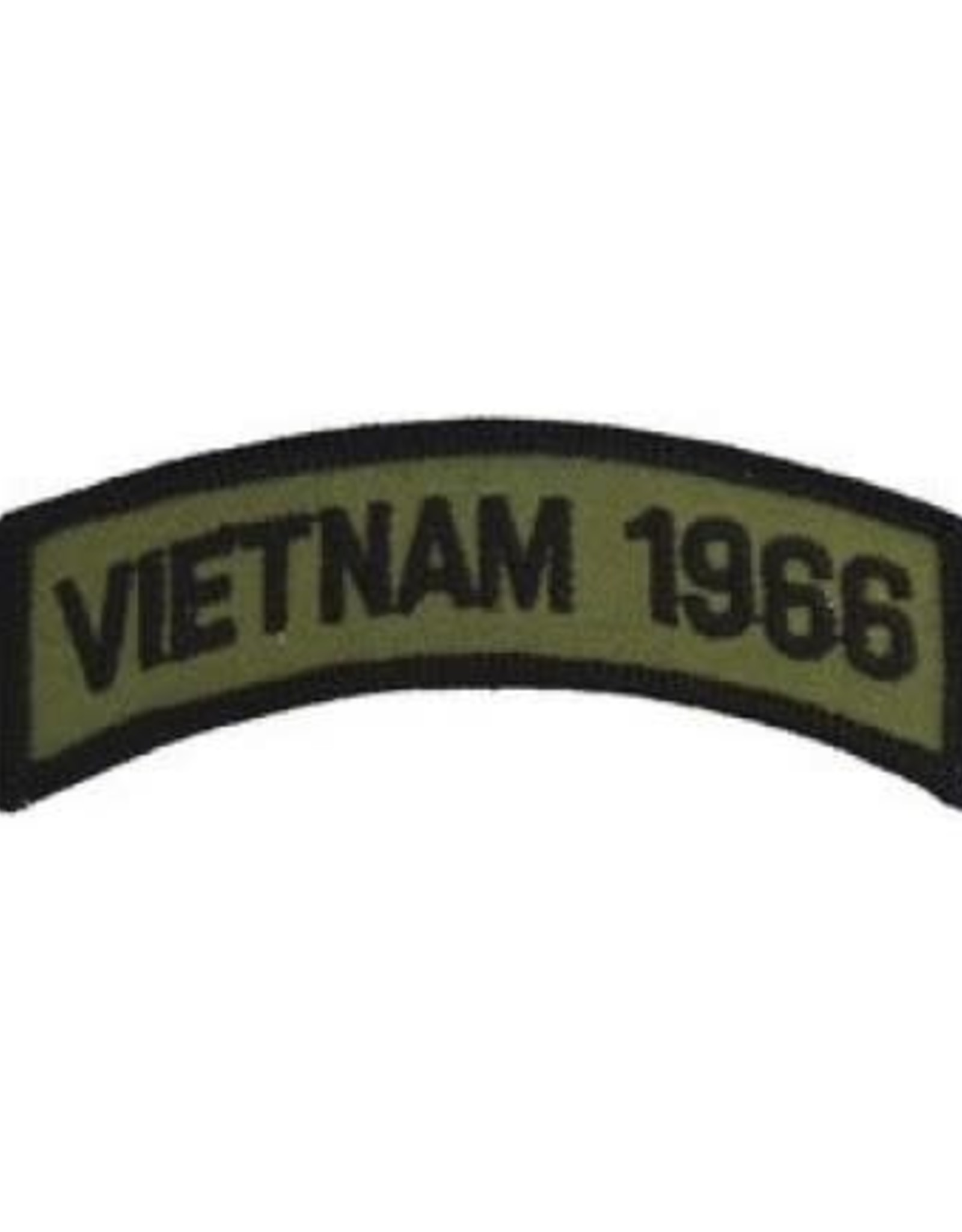 """MidMil Embroidered Subdued Vietnam 1966 Tab Patch 3.5"""" wide x 1.3"""" high Olive Drab"""