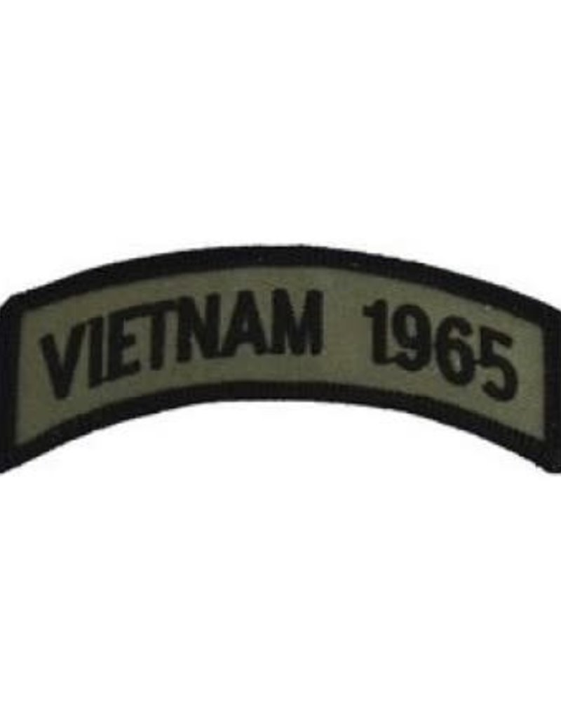 """MidMil Embroidered Subdued Vietnam 1965 Tab Patch 3.5"""" wide x 1.3"""" high Olive Drab"""