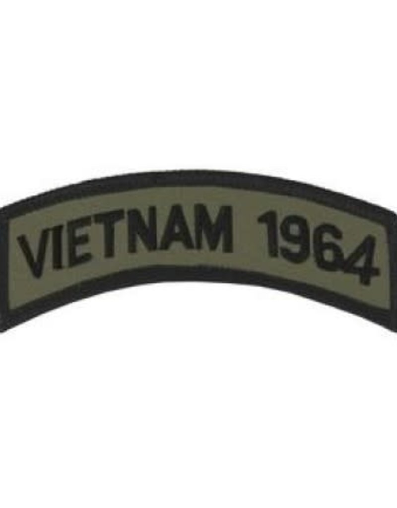"""MidMil Embroidered Subdued Vietnam 1964 Tab Patch 3.5"""" wide x 1.3"""" high Olive Drab"""