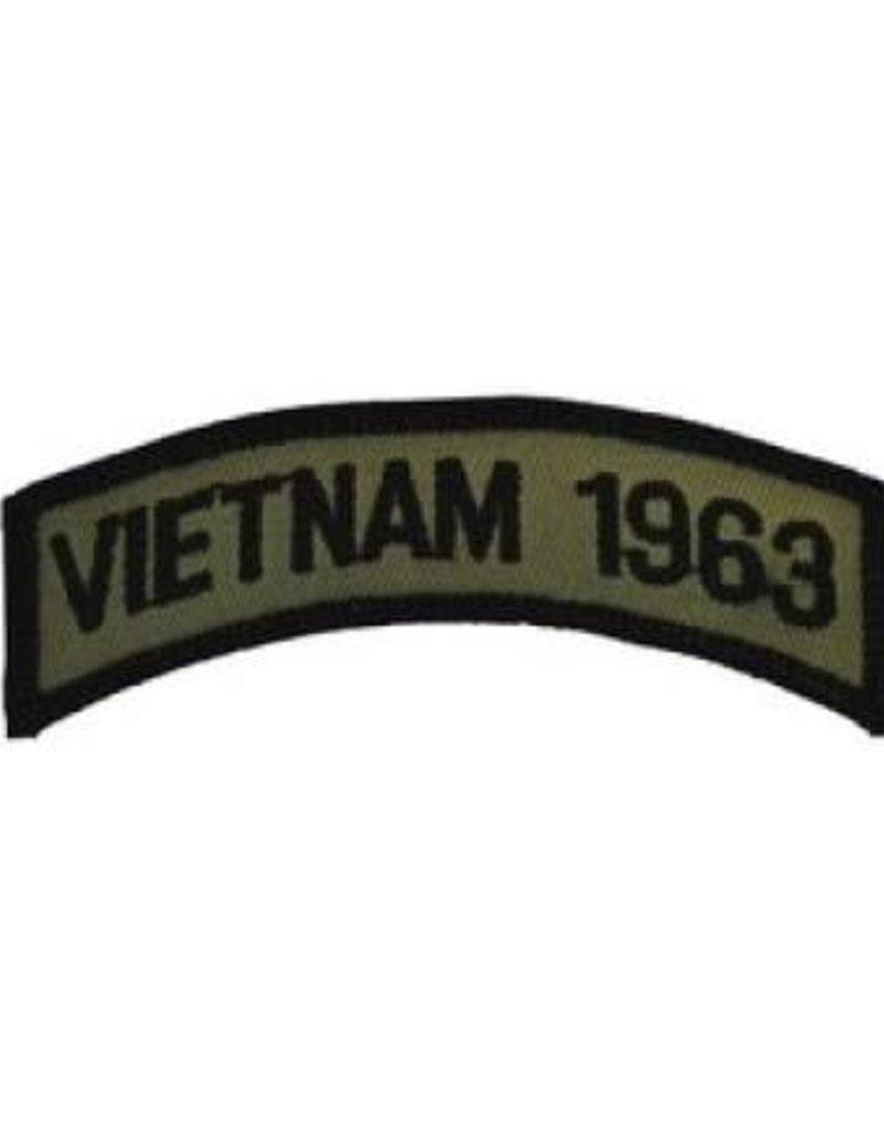 "MidMil Embroidered Subdued Vietnam 1963 Tab Patch 3.5"" wide x 1.3"" high Olive Drab"