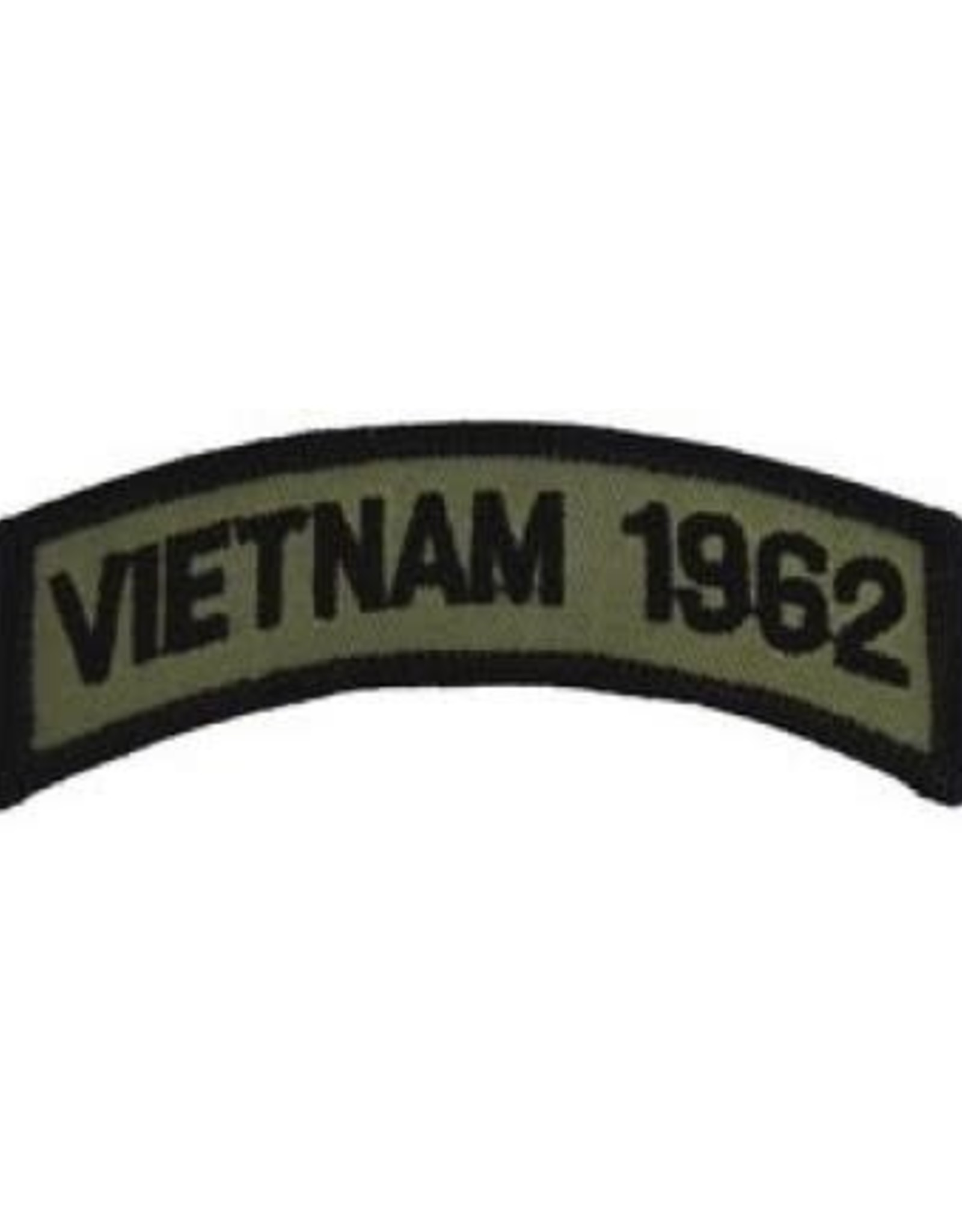 """MidMil Embroidered Subdued Vietnam 1962 Tab Patch 3.5"""" wide x 1.3"""" high Olive Drab"""