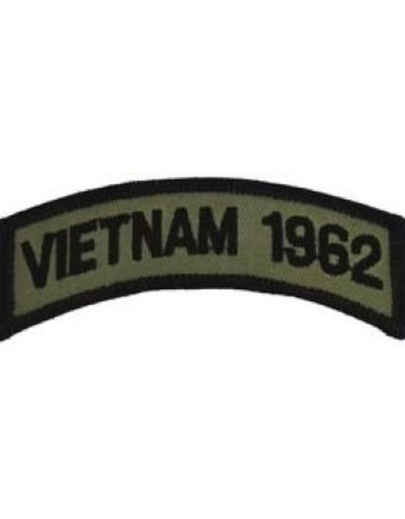 "MidMil Embroidered Subdued Vietnam 1962 Tab Patch 3.5"" wide x 1.3"" high Olive Drab"