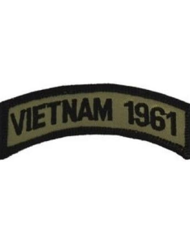 """MidMil Embroidered Subdued Vietnam 1961 Tab Patch 3.5"""" wide x 1.3"""" high Olive Drab"""
