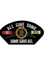 "MidMil Embroidered All gave some, Some gave all Vietnam POW*MIA Patch with Emblem and Ribbons 5.2"" wide x 2.7"" high Black"
