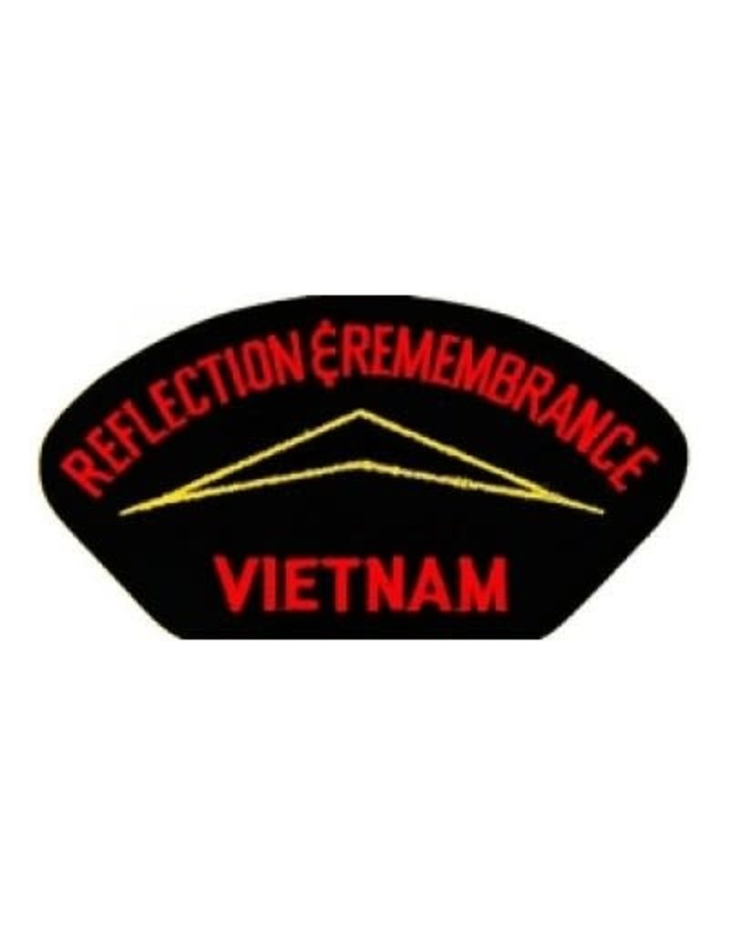 """MidMil Embroidered Reflections & Remembrance Vietnam Patch with Wall Emblem 5.2"""" wide  x 2.7"""" high Black"""