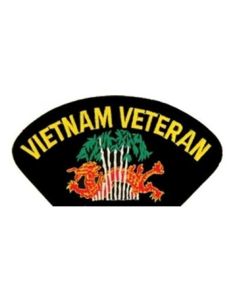 """MidMil Embroidered Vietnam Veteran Patch with Dragon in trees 5.2"""" wide x 2.7"""" high Black"""