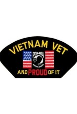 "MidMil Embroidered Vietnam Vet and PROUD of It Patch with Flag and POW 5.2"" wide x 2.7"" high Black"