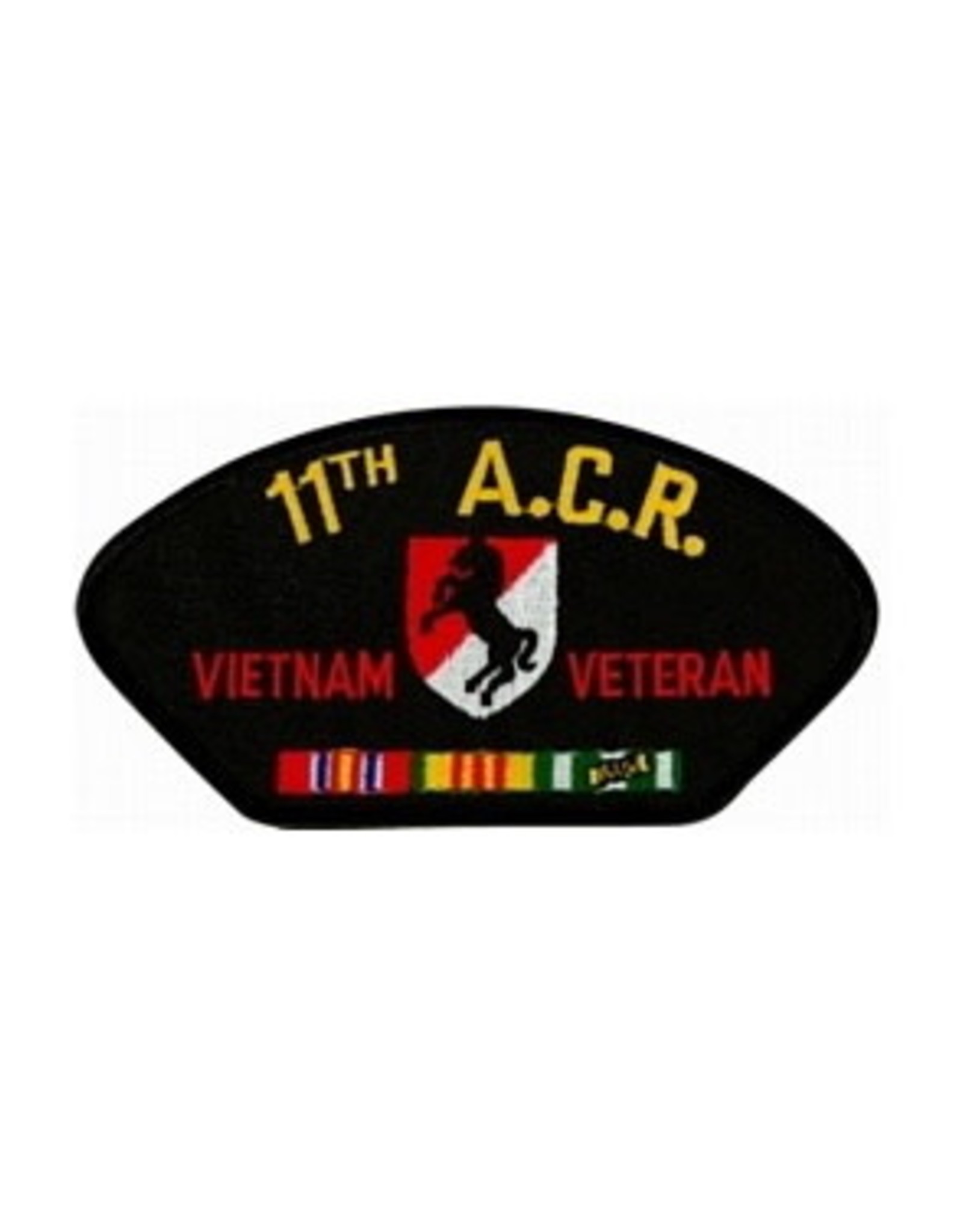 """MidMil Embroidered 11th A.C.R. Vietnam Veteran Patch with Emblem and Ribbons 5.2"""" wide x 2.7"""" high Black"""