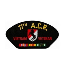 "MidMil Embroidered 11th A.C.R. Vietnam Veteran Patch with Emblem and Ribbons 5.2"" wide x 2.7"" high Black"