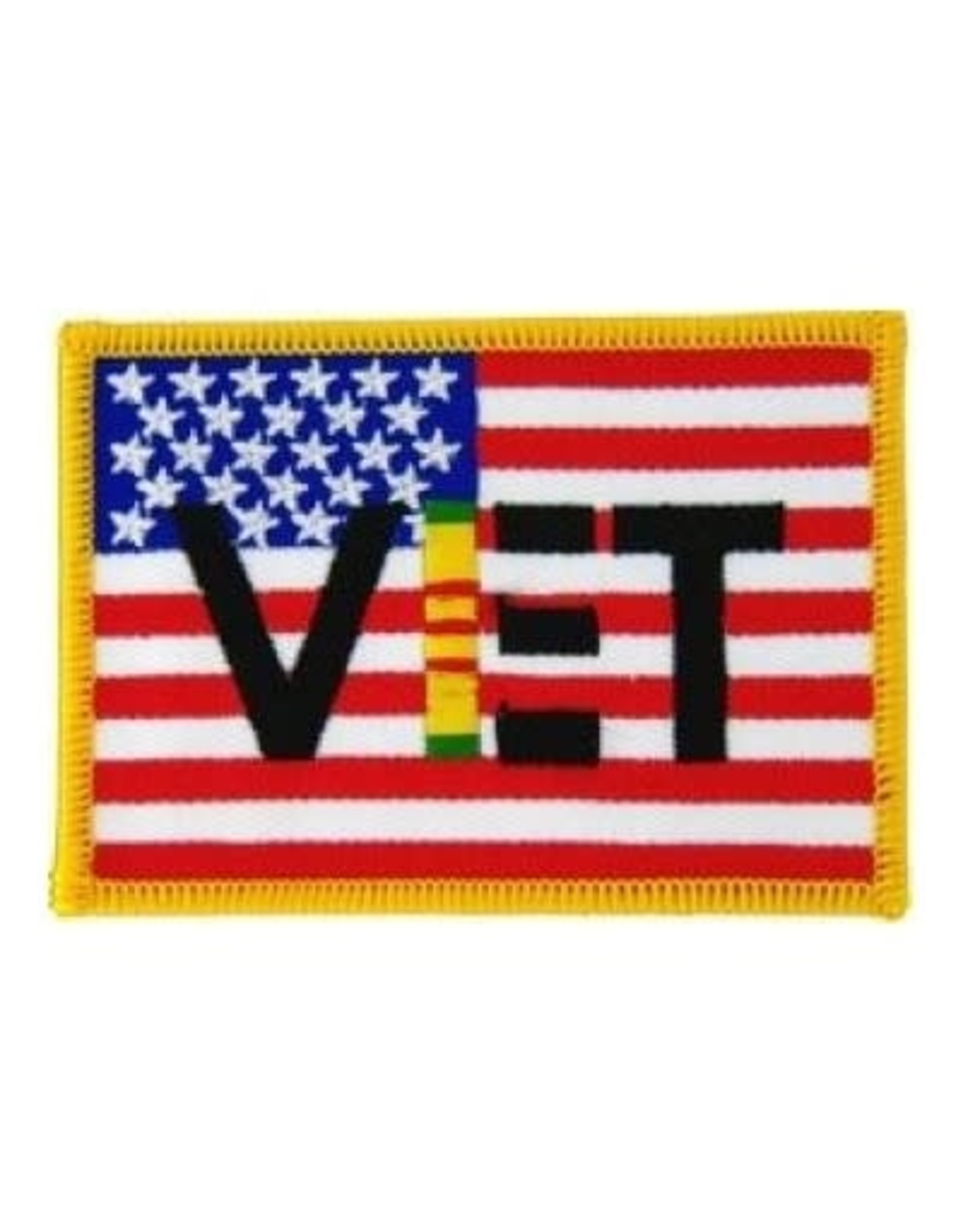 """MidMil Embroidered American Flag Patch with VET and Vietnam Ribbon 3.5"""" wide x 2.5"""" high"""