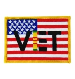 "MidMil Embroidered American Flag Patch with VET and Vietnam Ribbon 3.5"" wide x 2.5"" high"
