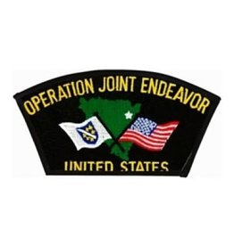"MidMil Embroidered Operation Joint Endeavor Patch 5.4"" wide x 2.8"" high Black"