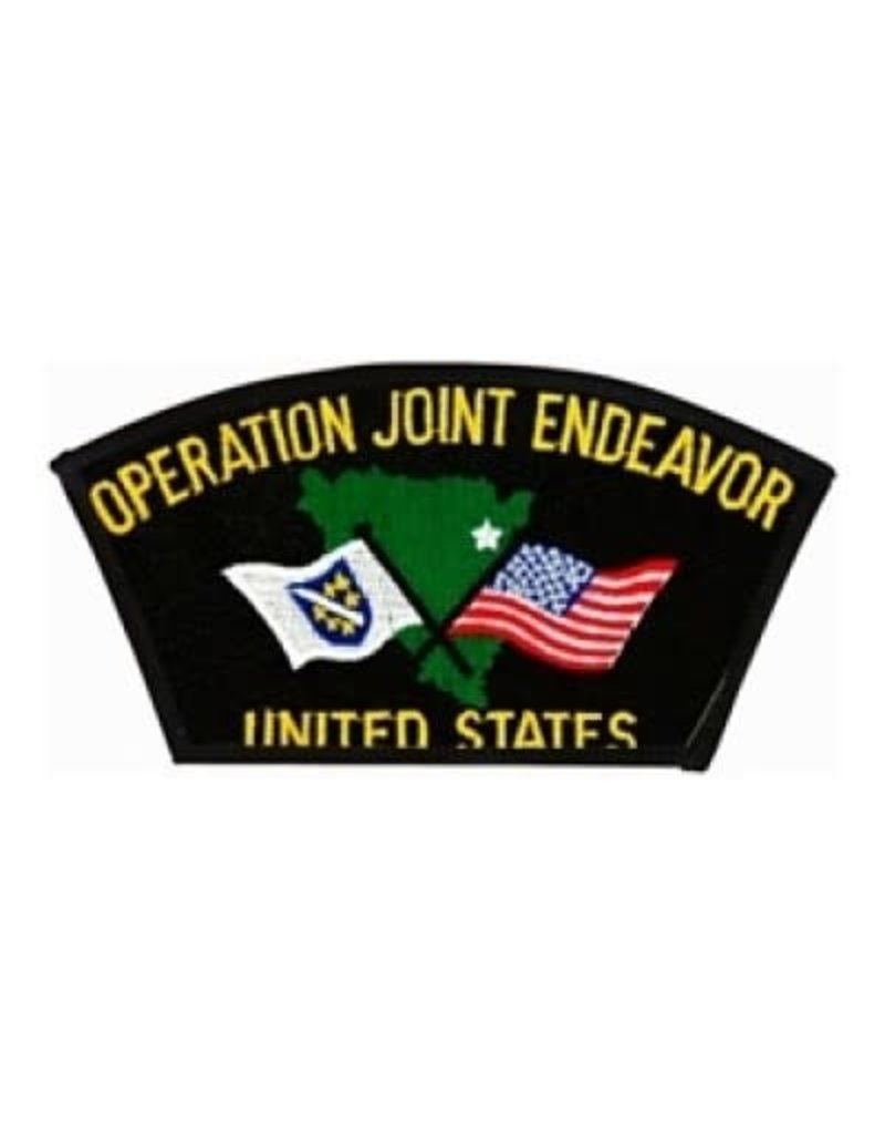 """MidMil Embroidered Operation Joint Endeavor Patch 5.4"""" wide x 2.8"""" high Black"""