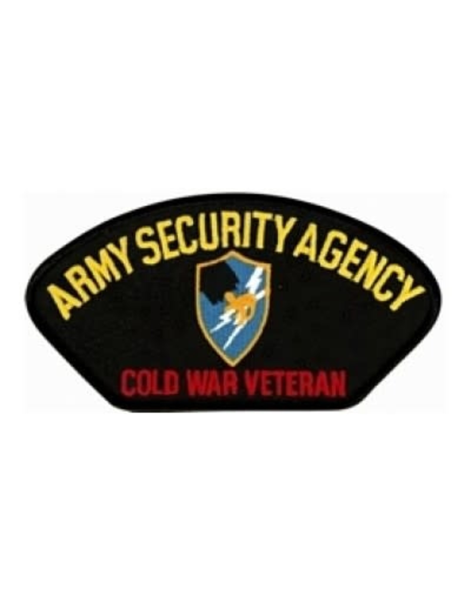 """MidMil Embroidered Army Security Agency Cold War Veteran Patch with Emblem 5.2"""" wide x 2.7"""" high Black"""