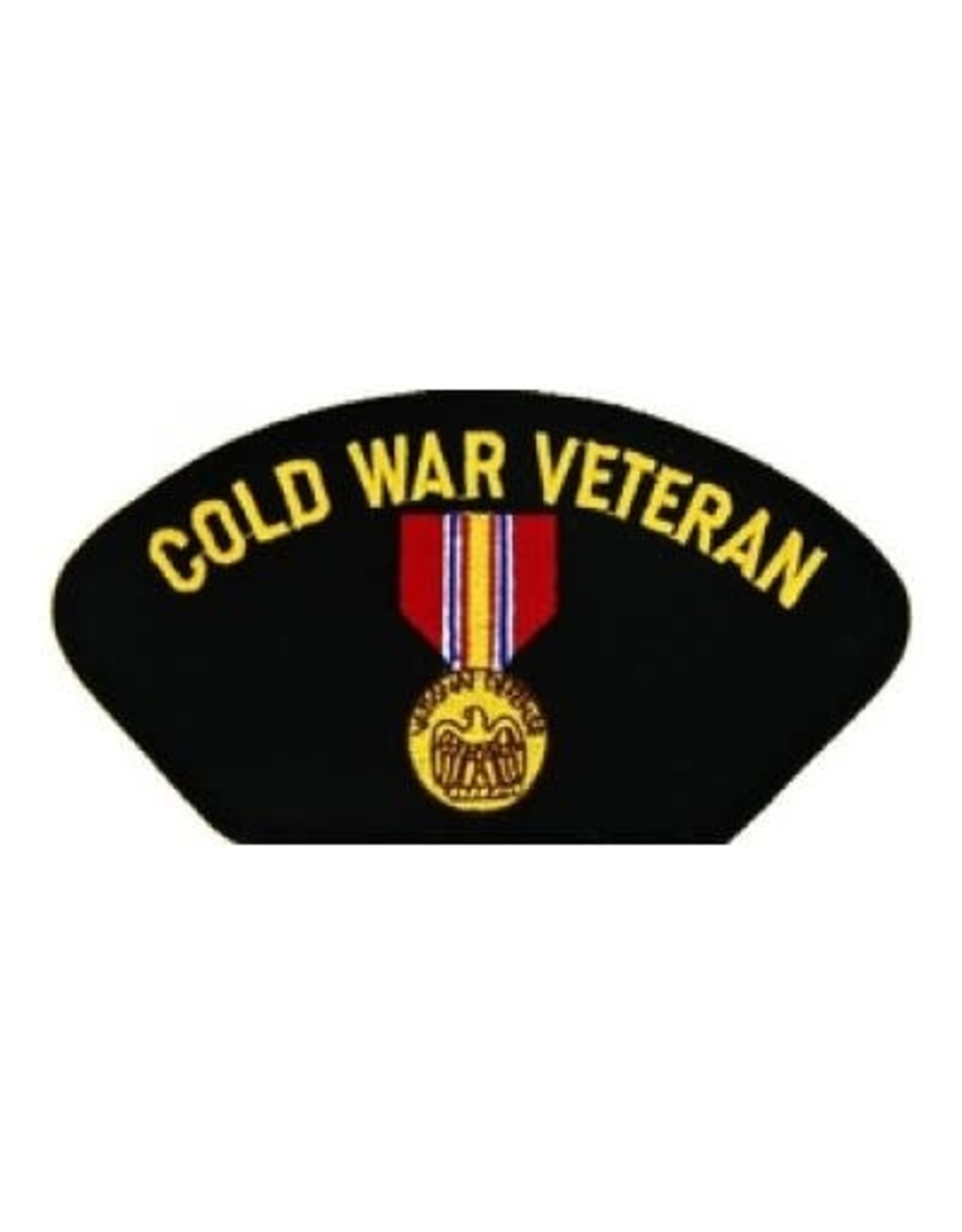 """MidMil Embroidered Cold War Veteran Patch with  National Defense Medal 5.2"""" wide x 2.7"""" high Black"""